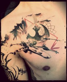 This star wars tattoo features te iconic scene from the film where luke skywalker is flying off in his rebel alliance x-wing as the death star explodes in Nerdy Tattoos, Wicked Tattoos, Badass Tattoos, Body Art Tattoos, Tattoos For Guys, Sleeve Tattoos, Tattoos For Women, Cool Tattoos, Tatoos