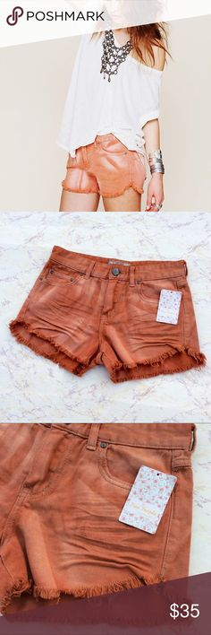 Free People Copper Denim Cutoffs NWT New Free People cut off shorts. Size 25. Waist 14. Length 11 in the back, 10 in the front. Free People Shorts