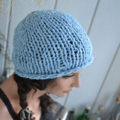 Knit Beenie Hat with Fingerless Gloves Sky by moonflowercreations, $47.00