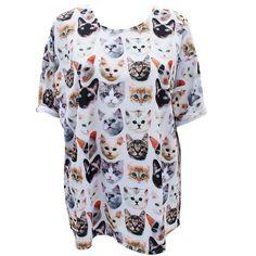 Kitten Print Oversized T-Shirt