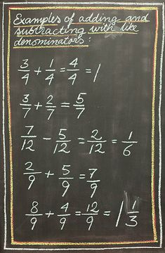 Waldorf ~ 4th grade ~ Math ~ Fractions ~ chalkboard