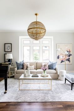 Living Room Inspiration: Navy, Blush and Gold Living Room by Studio McGee