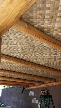 Lauhala Matting 4 & Rustic Balconies, Roofs, House D . Bamboo Ceiling, Bamboo House Design, Bamboo Architecture, Outdoor Restaurant, Restaurant Restaurant, Interior Decorating, Interior Design, Earthship, Cafe Interior