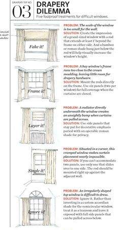 Shown here are solutions for awkward windows; too short, too cramped and that blasted radiator!  These styling tips are useful ways to get creative with your next drapery project.