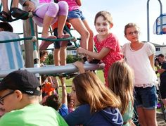 WISH GRANTED – Halle Popowich, a local girl now recovering from a rare leukemia courtesy of a bone marrow transplant, got her wish of a new playground at J.J. Nearing school on Thursday.