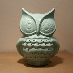 Handmade Cutesy Owl Ceramic TV Lamp in Light by hellohopscotch