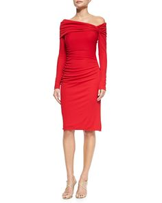 Badgley Mischka Collection Long-Sleeve Cocktail Dress W/ Ruched Shoulder