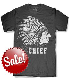 INDIAN CHIEF Mens t shirt -- 8 color options -- sizes sm med lg xl xxl