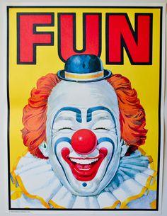 vintage circus poster 'FUN'