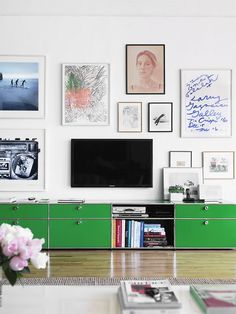 the green cabinets give it a great touch of color! easier than painting the walls