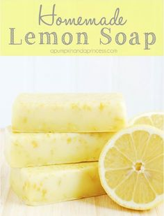 Homemade Lemon Soap  Supplies:  • 1 1/2 cups Goats Milk Soap Base or Shea Butter Soap Base, cubed • 4-6 drops Lemon Essential Oil • Dried Lemon zest of 3-4 lemons