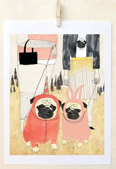 Pug Art Print Pug Love Art Print on Paper Dog lover by retrowhale, $24.00