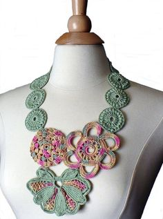Crochet Necklace Irish Lace Crochet Flower Statement Necklace Pink Sage Ecru Pale Yellow