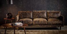 This distressed leather sofa. Nirvana Dakota Smoke Sofa by bryght. Distressed Leather Sofa, Tan Leather Sofas, Leather Sectional Sofas, Modern Sectional, Couches, Tan Sofa, Take A Seat, Love Seat, Home Furniture