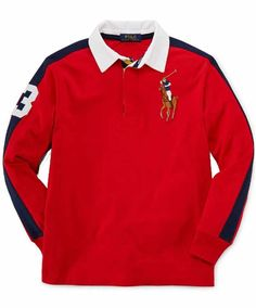 NWT Ralph Lauren Boys Long Sleeves Red Big Pony Rugby Shirt Size 2T #RalphLauren #Everyday