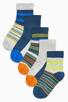 Multi Bright Bright Stripe Socks Five Pack (Younger Boys)