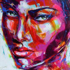 Peintre portraitiste contemporain Berto Artist At Work, Les Oeuvres, Collages, Portraits, Painting, Painters, Contemporary Art, Stained Glass, Canvas