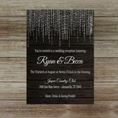Lights Wedding Reception Invitation on Dark by GoldenGirlDesignz                                                                                                                                                                                 More
