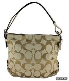 Coach 24CM Signature Duffle Shoulder Crossbody Bag, Style 15067, Light Khaki Gold - PinBuy