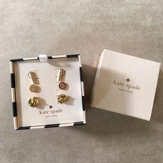 Kate Spade Gold Glitter Stud Earring Set Brand new in box, set of 3 pairs of gold stud earrings! Super cute! kate spade Jewelry Earrings
