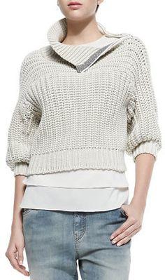 Brunello Cucinelli Half-Sleeve Sweater W/ Zip Shoulder