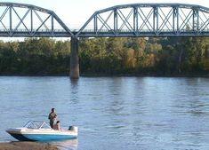 The Missouri River in Council Bluffs, Iowa. The Union Pacific Missouri River Bridge is in the background.