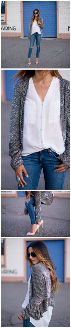 When wearing something sparkly like this during the day, try to keep the rest of your outfit pretty simple: ripped jeans, a chic blouse and go-to nude pumps. cc: Restyle.Restore.Rejoice blog
