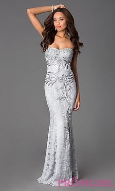 Strapless Lace Floor Length Sweetheart Dress at PromGirl.com  http://www.promgirl.com/shop/dresses/viewitem-PD1345818