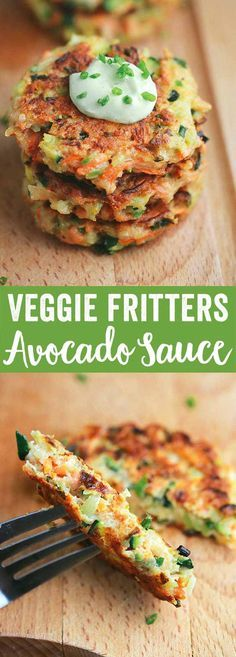 Crispy Vegetable Fritters with Avocado Yogurt Sauce - This recipe is packed with broccoli, carrots, and zucchini. Enjoy by dipping each appetizer bite into a delicious creamy sauce via Jessica Gavin Crispy Vegetable Fritters with Avocado Yogurt Sau High Protein Vegetarian Recipes, Vegetarian Recipes Dinner, Vegan Meals, Vegetarian Breakfast, Healthy Protein, Vegetarian Sandwiches, Vegetarian Italian, Going Vegetarian, Avocado