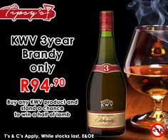 Buy any product from and stand a chance to win half of a lamb. Get the 3 Year KWV Brandy for only Prices valid until 1 August 2015 or while stocks last, T's & C's Apply, E & OE. Not for Sale to Persons Under the Age of Drink Responsibly. 1 August, Liquor, Lamb, How To Apply, Drinks, Stuff To Buy, Drinking, Alcohol, Beverages