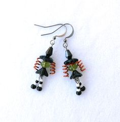Witch Dangle Black Orange and Green Earrings by connectionsbymaya, $14.00