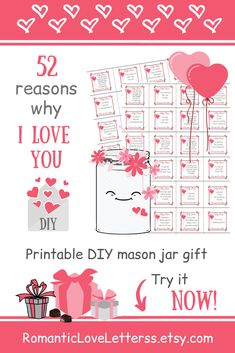 This PRINTABLE DIY kit of 365 Reasons Why I Love You is excellent PERSONALIZED romantic gift for him (sentimental gift for boyfriend)! 😌💕 Please visit our website to buy it now! for him 365 Romantic love notes for boyfriend Sentimental Gifts For Men, Thoughtful Gifts For Him, Romantic Gifts For Him, Personalized Gifts For Men, Meaningful Gifts, Handmade Gifts, Reasons Why I Love You, I Love You Mom, 52 Reasons