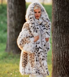 hooded lynx fur coat