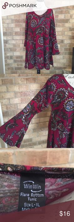 Boutique Paisley Tunic Sz L/XL. Great colors for fall. Looks great with leggings and boots. Cute sleeves. boutique Tops Tunics