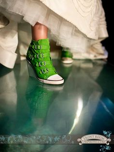 e6eeb9f4808c Lisa s amazing second pair of wedding shoes. These Kelly Green wedge  sneakers with buckle accents