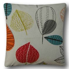 "Cushion Cover Handmade With Maple Cinnamon 14"" Retro Design Scatter Red Orange"