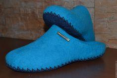 Купить валяные тапочки - бирюзовый, валяные тапочки, валяная обувь, ручная авторская работа