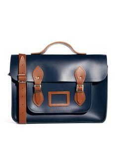 Cambridge Satchel Company The 15 Designer Leather Satchel in Blue for Men (Navytan)
