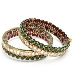 <3 Kundan and emerald bangles with Meenakari work