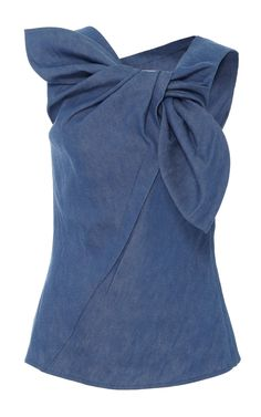 Denim Wrap Top by CAROLINA HERRERA for Preorder on Moda Operandi