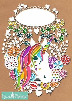 Rainbow Unicorn Floral Wreath Personal Use Papercut Template - Can be Customised