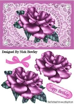 Pink Rose on Pink vintage lace with white pearls on Craftsuprint designed by Nick Bowley - Pink Rose on Pink vintage lace with white pearls, makes a pretty card, can be seen in other colours and designs - Now available for download!