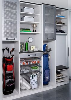 Sports Storage Garage and Shed Design Ideas, Pictures, Remodel and Decor Design Garage, Shed Design, Diy Garage Storage, Locker Storage, Storage Ideas, Garage Shelving, Garage Lockers, Storage Solutions, Garage Workbench