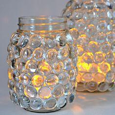 mason jar luminaries easy craft light, crafts, home decor, lighting, mason jars… Mason Jar Projects, Mason Jar Crafts, Mason Jar Diy, Diy Projects, Pickle Jar Crafts, Pickle Jars, Glue Gun Crafts, Diy Crafts, Halloween Mason Jars