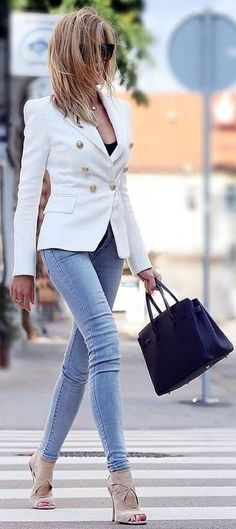 RORESS closet ideas #women fashion outfit #clothing style apparel White Blazer Grey Denim