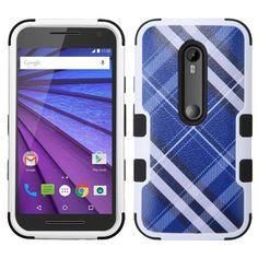 MYBAT TUFF Motorola Moto G 3rd Gen Case - Blue Diagonal Plaid/Black