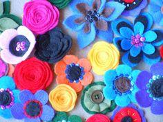 felt flower clips #felt #flower #hair clips