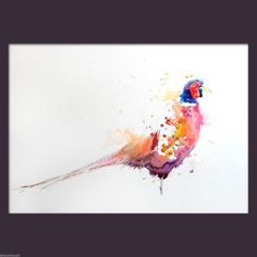 JEN-BUCKLEY-contemporary-signed-PHEASANT-Watercolour-PAINTING-large-A3
