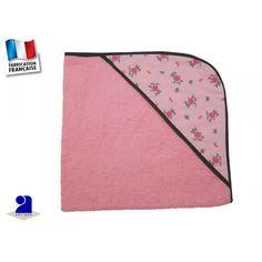 Cape de bain bébé rose, déco souris  par Poussin Bleu  75 x75 cm   La cape de bain assure le séchage de bébé lorsque vous le sortez du bain.  La cape de bain avec sa capuche permet de l'envelopper confortablement