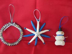 Shell Ornaments Cluster of 3 - Blue on Etsy, $20.00